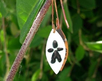 Enameled copper dangle earrings