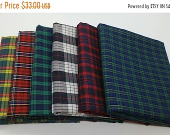 50% OFF CLEARANCE SALE 6 Half-Yard Bundle of Tartan Plaid