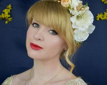 Ivory and Blush Bridal Flower Headband | Bridal Flower Crown | Bridal Headpiece | Floral Headpiece | Festival Headpiece | Ivory Flower Crown