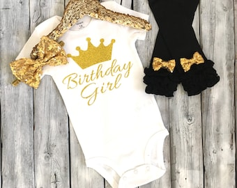 Black and gold first birthday outfit, black gold second birthday, black and gold birthday outfit, birthday girl outfit, gold glitter, gold