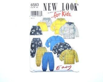 Sweatshirt Sewing Pattern, Girls Boys New Look Sewing Pattern 6583, Sweatshirt Pants Skirt Sizes 4 - 9 Sewing Pattern