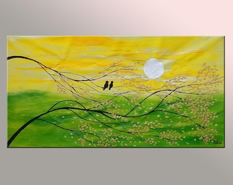 Love Birds Painting, Canvas Wall Art, Abstract Painting, Wedding Gift, Original Painting, Oil Painting, Canvas Painting, Large Oil Painting