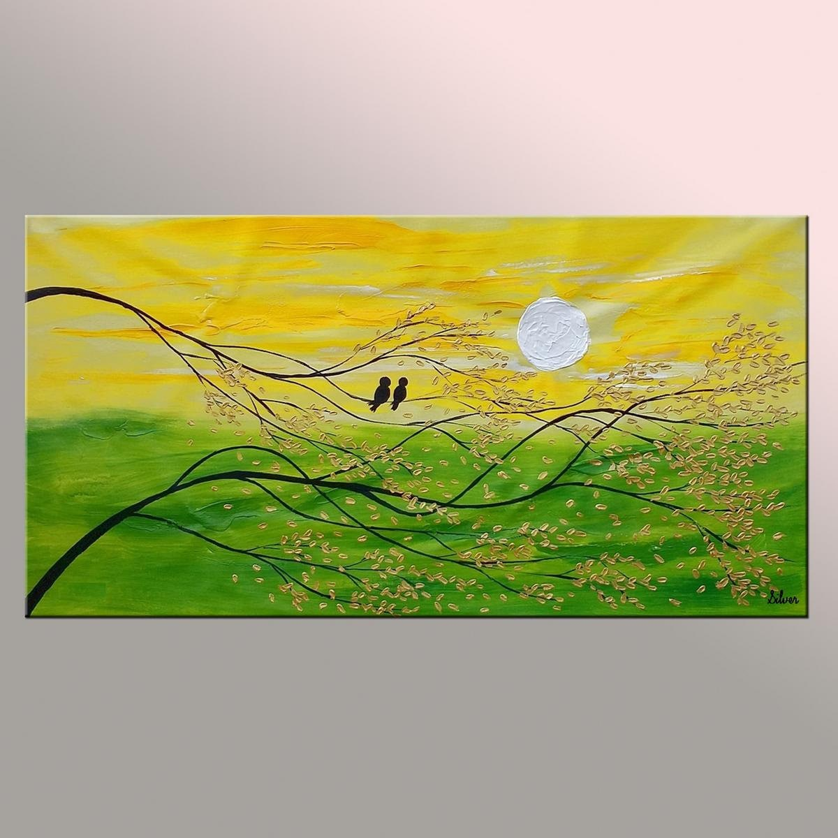 Love Birds Painting Canvas Wall Art Abstract Painting