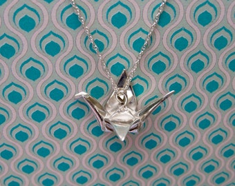 Silver Origami Crane Bird Necklace Pendant Miniature Cute Gift