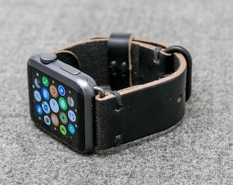 Apple Watch Band | The Hudson Strap for Apple Watch | Black Horween Chromexcel Leather Band w/ Black Thread - Handmade