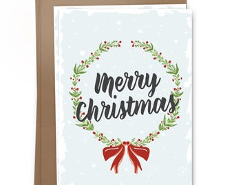 Merry Christmas Wreath Card Pack