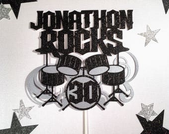 Rock and Roll Cake topper,Drum Cake Topper,Birthday Cake topper,30th Birthday Cake topper, Musician Cake topper, Music Birthday Cake Topper,