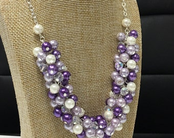 Purple Necklace Pearl Cluster Necklace Bridesmaids Gifts Purple and Ivory Necklace Wedding Jewelry Lavender Necklace Shades of Purple