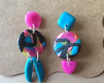 Dangle Earrings geometric earrings pink teal Polymer Clay mismatched earrings modern colourful trendy jewelry gift