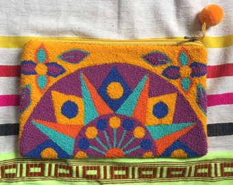 Colorful Embroidered Geometric Pouch