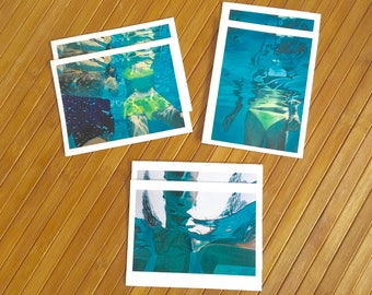 Set of 6 Notecards and envelopes with original underwater paintings