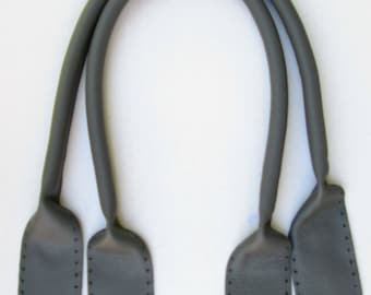 "24"" Grey Leather Tote Handles"
