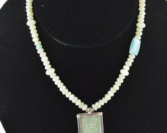 New Jade Necklace with Framed Stamp Pendant