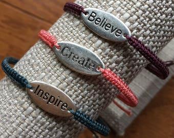 Affirmation bracelets, Believe, Create, Inspire bracelets