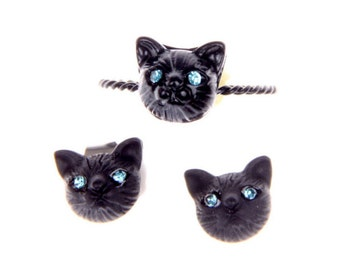 Black cat jewelry Set Ring and Earrings