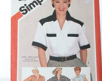 1980's Simplicity 6018 Misses Shirt -- Size 10 -- Four Views, Sleeve & Trim Variations -- Blouse, Top, Collared, Uncut-- 1983