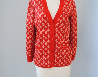 Vintage Wool Sweater 60s Red Floral Cardigan Novelty Sweater Jumper V Neck Cardigan Sweater M L