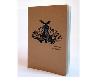 A5 Notebook - Black Arches moth print Notebook, A5 Sketchbook Notepad, Kraft notebook.