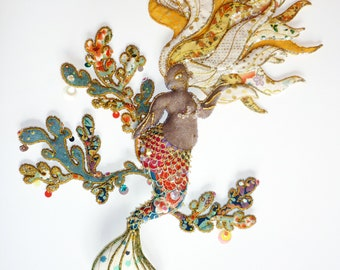 "Textile sculpture art doll ""The sparkling Mermaid"""