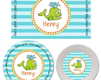 Personalized Kids Melamine Plate, Bowl and Placemat Set - Melamine Dinnerware Set - Mealtime Set - Kids Plate and Bowl Set - Whale Boy