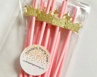 12 Paper Straws with Tiara   Crown   Glitter