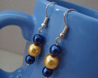 Three Pearl Earrings blue purple and yellow