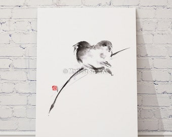 Bird Painting Watercolor Birds Print Zen Art Abstract Painting Home Decor