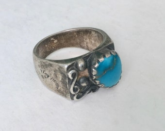 vintage chunky Mexican sterling and turquoise ring, size 9.5