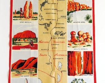 Vintage 1960s linen tea towel - fantastic illustrations and colours scenes of Central Australia - crisp condition - Australian souvenir