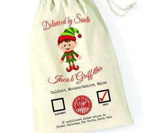 Personalised Elf Christmas Santa Sack Reindeer Xmas Present Stocking Drawstring Keepsake Tumblr Pintrest