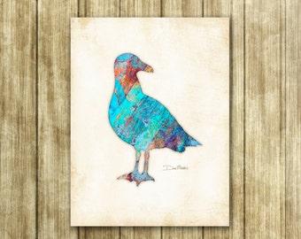 Watercolor Seagull Art Print Signed by Artist Dan Morris, coastal birds art, Choose print size, Option to mount print, beach decor