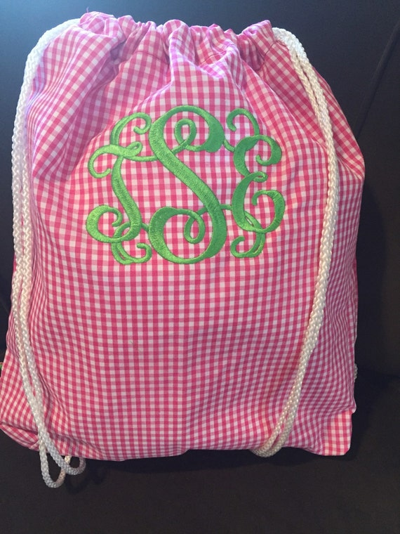 Hot pink gingham check drawstring backpack