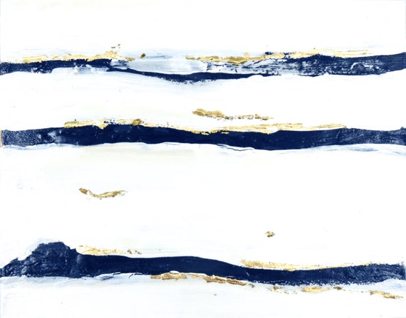 painting wall art canvas navy white gold mod