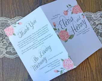Printable Coral Roses Folded Wedding Program
