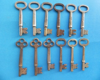 12 Antique Skeleton Keys. YALE & BARROWS.
