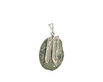 Serpentine/Quartz Wire Wrapped Handmade Pendant