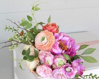 Bright Colorful Silk Flower Wedding Bouquet | Pink Coral Peach | Garden Inspired Bridal Bouquet | SG-1038