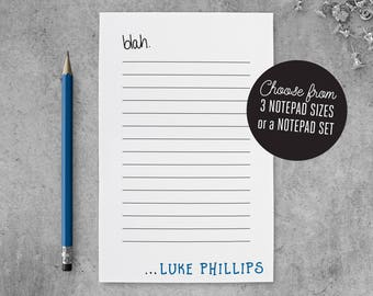 Mens Personalized Notepad Lined, Funny Notepad To Do List, Blah Notepad Personalized for Men Notepad Gift for Coworker, PSNTP_0048