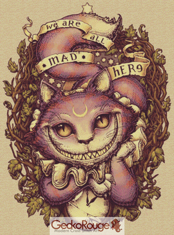 Cheshire Cat Cross Stitch Kit Medusa Dollmaker Cat Cross
