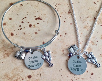 Oh the places you'll go - Quote Necklace, Bangle or Keyring