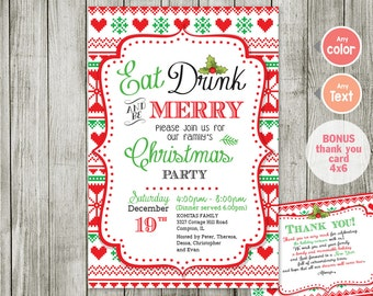 eat drink and be christmas Invitation - eat drink and be merry Christmas Party Invitation Editable Holiday Event - christmas invitation