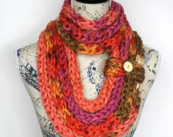 Knit Scarf Necklace Chunky Infinity Knit Loop Scarf Knitted Infinity Bulky Knit Scarf Personalized Gift for women Valentines Day Gift