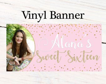 Sweet Sixteen Birthday Banner  ~ Sweet 16 Gold Polka Dots Birthday Personalized Party Banners - Custom Photo Birthday Banner, Printed Banner