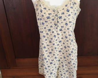 L / Victoria's Secret / Nightgown / Cotton / Print / Vintage Lingerie / Large