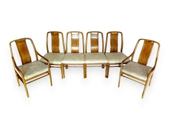 VVH Vintage Set Of 6 Drexel Preface Dining Chairs Mid Century Modern Asian  Inspired Chinoiserie Mont