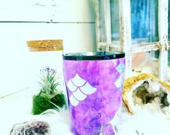 Mermaid scale stainless steel tumbler cup