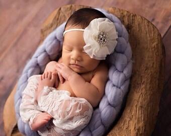 SALE!! Newborn Lace Pants, Newborn Lace Pant Set, Newborn Photo Prop, Lace Pants, Chiffon Rose Headband, Newborn Pant Set, Newborn