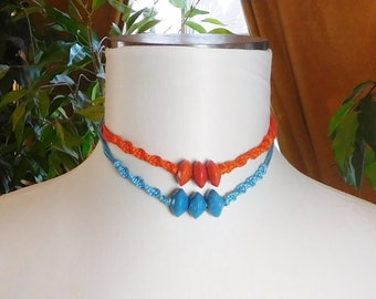 Macrame Choker Necklace Wood Beads Orange or Blue Choker Hippie Boho Jewelry 70s 80s Vintage Woodstock Era