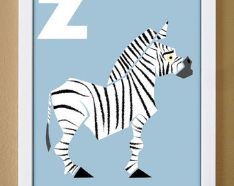 alphabet letter Z, zebra, custom colors, children's letter art, nursery decor, kids initials, 4X6, 5X7, 8X10