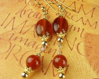 Red Agate Earrings  (Sadie)  by Gonet Jewelry Design